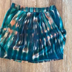 Teal mini skirt with pockets S